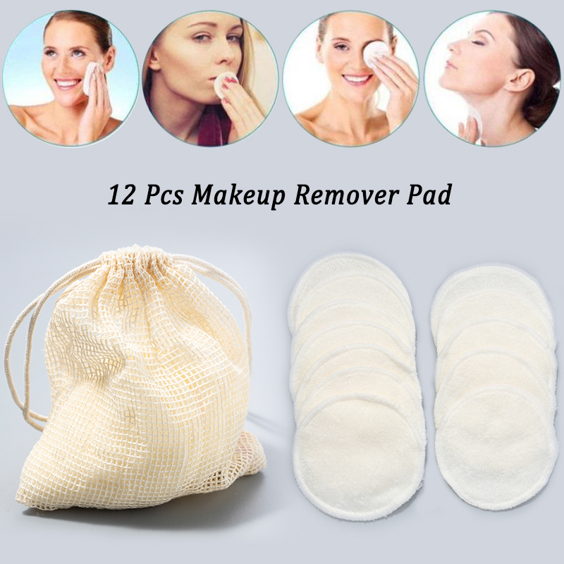 12Pcs Makeup Remover Pads Reusable Cotton Pads Make Up Facial Remover Bamboo Fiber Facial Skin Care Nursing Pads Skin Cleaning