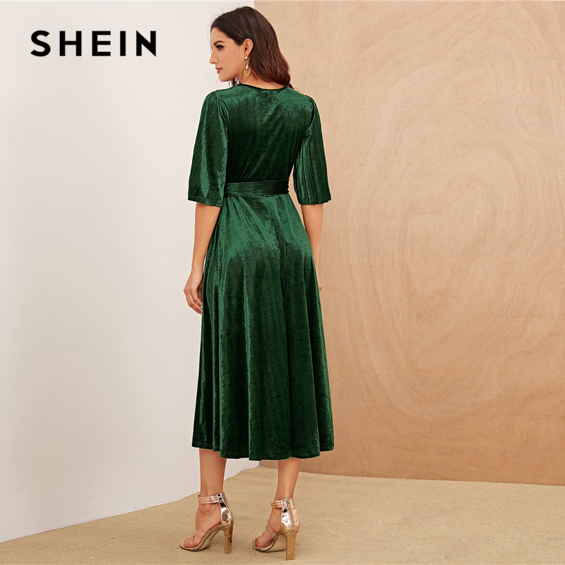 SHEIN Green Pleated Sleeve Wrap Belted Velvet Dress Short Sleeve V Neck Women High Waist Spring Glamorous Flared Dresses 2