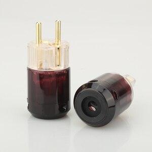 Image 2 - Бесплатная доставка, одна пара, 24k, позолоченная стандартная штепсельная вилка европейского стандарта + женский разъем стандарта IEC для самостоятельной сборки аудио