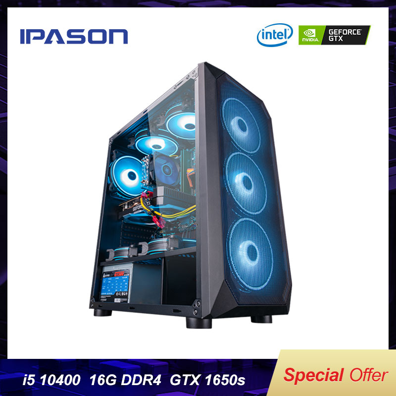 IPASON <font><b>i5</b></font> <font><b>9400F</b></font> Upgrade 10400 / GTX1650 Super 10 Gen Desktop Computer PC GTA5/PUBG High-Match Assembly Full Gaming PC image