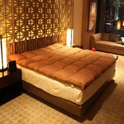 Relleno de lujo 100% ganso blanco abajo 10cm de espesor cómodo algodón telas colchón disfrute de los hoteles de cinco estrellas