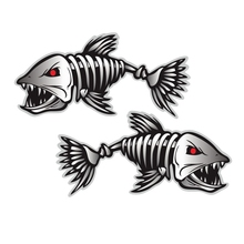 2-Pairs Kayak Fishing-Boat Stickers Kayak-Accessories for Canoe Wall Decals Skeleton