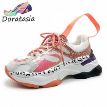 DORATASIA New INS Hot Sale Sweet Girl Shining Platform Sneakers Women 2019 Autumn Casual Breathable Leopard Dad Shoes Woman