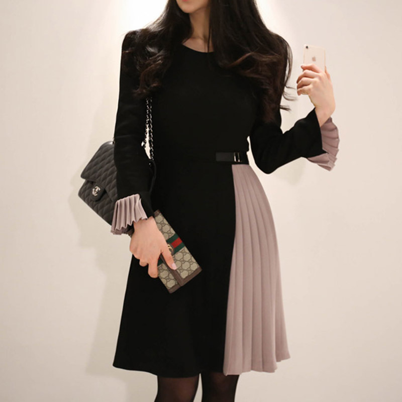 WOMEN'S Dress 2018 Autumn And Winter New Style Ol Career Elegant Mixed Colors Bell Sleeve High-waisted Slimming Pleated Dress Wo