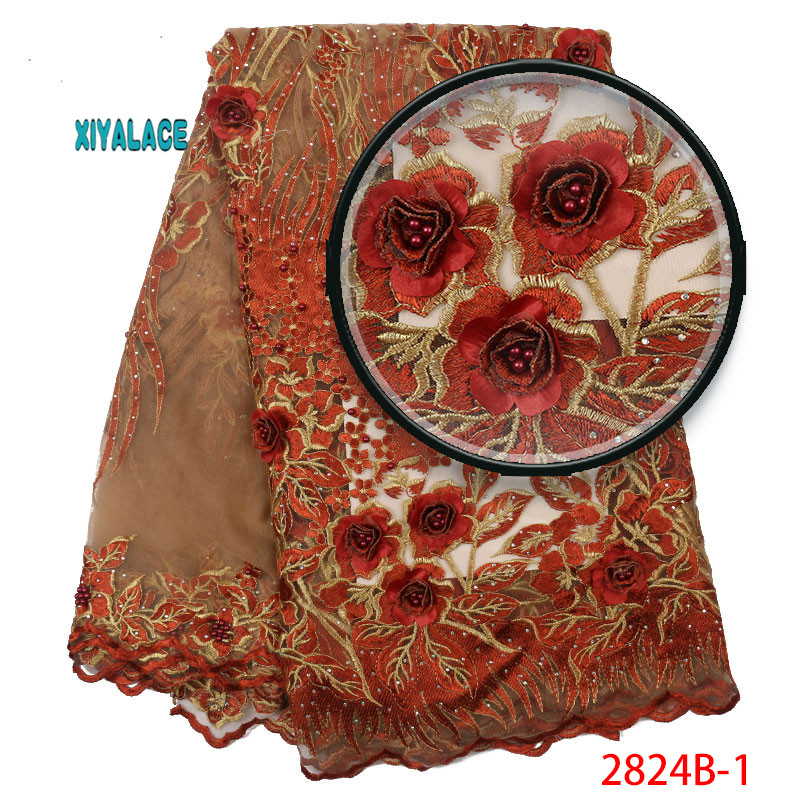 3D Nigerian Lace Fabric High Quality Tulle Mesh Lace Fabric Embroidery African Wedding Lace Fabric For French Lace YA2824B-1