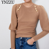 Women with gold button Sweater 2019 Autumn Winter Solid color Puff sleeve Knitted pullover O neck Slim Female Jumper YNZZU YT723