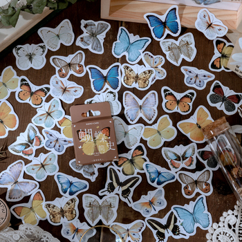 46 pcs/box Kawaii Cartoon Butterfly Stickers Decorative collage Scrapbooking back to school Gift Sealing custom planner sticker