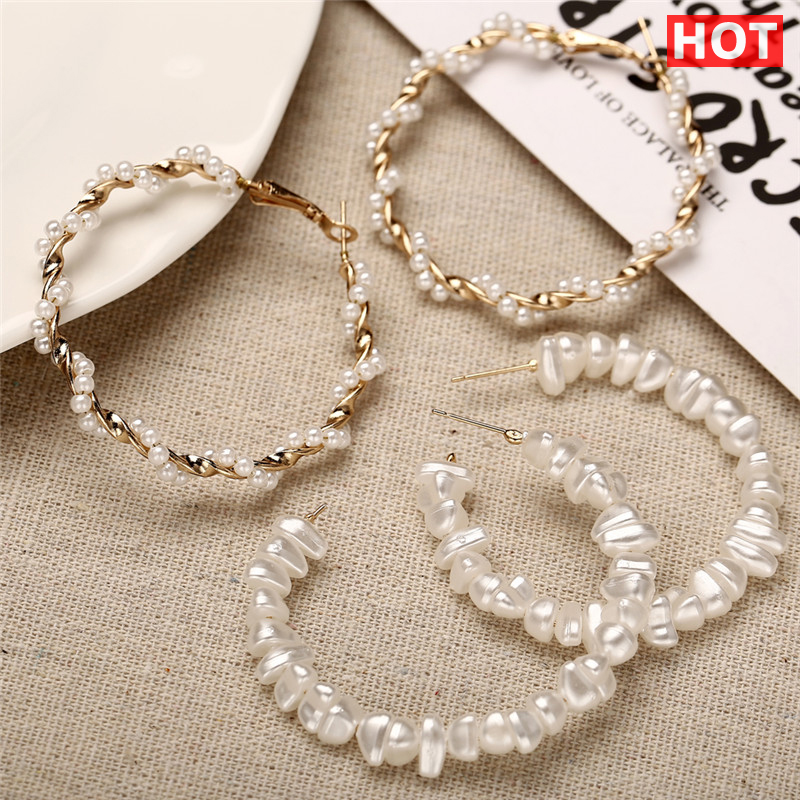 17KM Hoop-Earrings Jewelry Oversize-Pearl Twisted Statement Girls Fashion Women for Unique