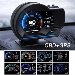 Universal Car HUD OBD + GPS Dual System Smart Head Up Display with Navigation Speedometer Alarm Overspeed Temperature Warning