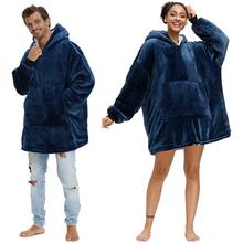Zimowa bluza z kapturem damska koc z kapturem bluza z polaru pluszowa bluza z kapturem ciepły polar koralowy koc TV z rękawem kobieta zimowe ubrania tanie tanio CN (pochodzenie) Poliester bawełna Przenośne Stałe Wiosna jesień Koral polar tkanina Klasa a HP157 Gładkie barwione