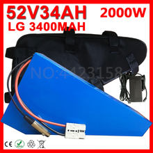 52V Triangle Battery 52V 17Ah 20Ah 24Ah 30Ah 35Ah Electric Bike Lithium Battery use LG cell for 48V/52V 1000W 1500W 2000W Motor(China)