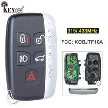 Keyecu 315/ 433mhz fcc: substituição de kobjtf10a 5 botão remoto chave fob para jaguar xf xj xk xe f-tipo com palavra no lado