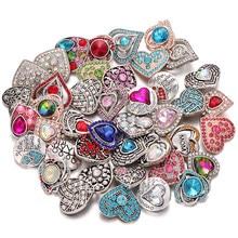Venta al por mayor 6 unids/lote 18mm mezclados, de diamantes de imitación de Metal de 18mm botones de ajuste broches collar pulsera Charms intercambiables