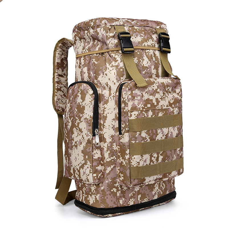 Camouflage Outdoor Backpack Mountaineering Bag Backpack Men And Women Large-Volume Casual Travel Bag Sports Travel Bag 50L