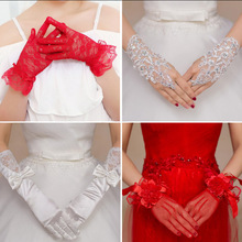 Bridal Lace Red White Wedding Gloves Short Long Satin  Flower Girl Little