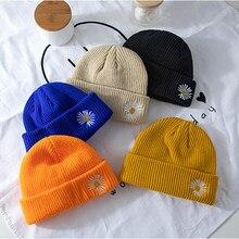 2020 unissex chapéu de malha feminino gorro de lã masculino margarida bellis bordado outono inverno quente toque hami melão casca chapéus