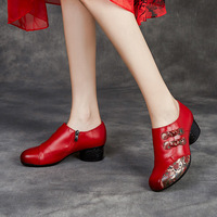 2021 Spring Shoe for Women Size 35-41 Woman Mid Heels Shoes Casual Flowers Pumps Black Red Purple Genuine Leather Pump 1