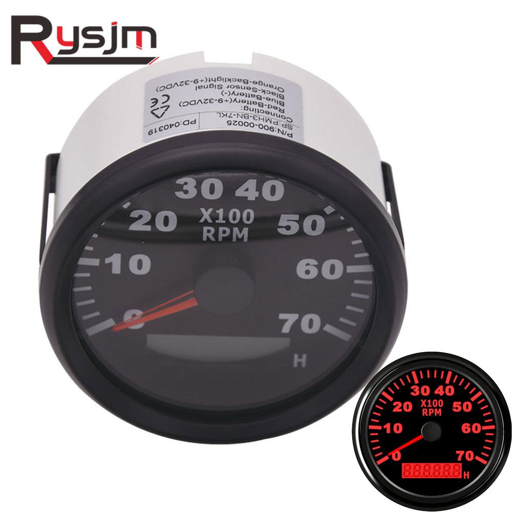Tachymètre 85mm pour moteur de bateau 7000 tr/min compteur horaire rond numérique moto tacho RPM jauge compte-tours rouge rétro-éclairage 12V 24V