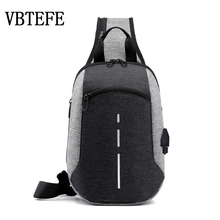 VBTEFE New Night Reflective Design Mens Shoulder Bag USB Charging Boy Crossbody