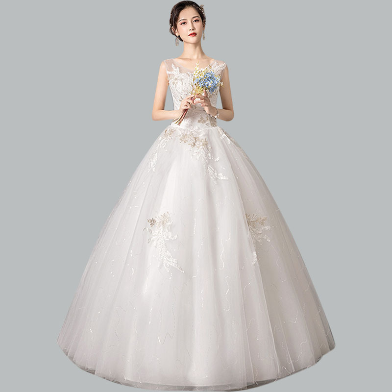 Eelegant Wedding Dress CR666 V-neck Sleeveless Wedding Gowns Embroidery Lace Wedding Dresses 2020 Long Lace Up Vestidos De Noiva