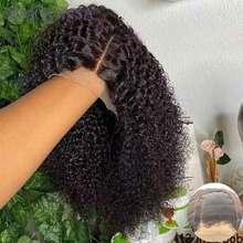 Короткий кудрявый афро кудрявый парик вьющиеся парики из натуральных волос на кружевной Боб Синтетические волосы на кружеве парики 180 Denisty глубокий часть 13x4 Синтетические волосы на кружеве парики человеческих волос Remy