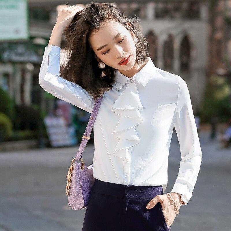 Gdx2036 Korean-style Goddess Long Sleeve Business 2020 New Style Casual Non-mainstream Western Style White Elegant Chiffon Shirt