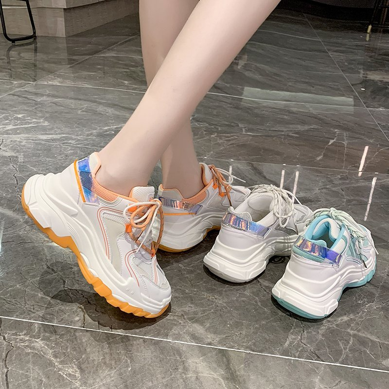 Summer 2020 new mesh hollow casual sports shoes women trendy wild color matching thick bottom old shoes X104