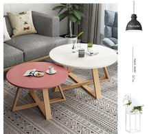 Nordic contracted and recreational small tea table sitting room household use small family simple and simple real woodiness circ simple small family round tea table table of black and white of the lacquer that bake sale
