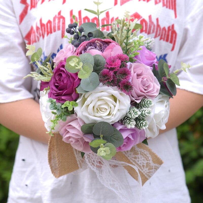 Blue Artificial Rose Flower Bouquets Silk Rose Dahlia Floral Arrangement Bridal Flower Bouquets for Wedding Party Garden Home