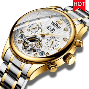 Image 1 - HAIQIN Mens watches Automatic mechanical Men Watches Business Watch men top brand luxury Military Waterproof Tourbillon Clock