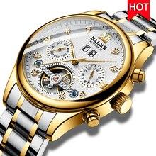 HAIQIN męskie zegarki automatyczne mechaniczne zegarki męskie zegarek biznesowy mężczyźni top marka luksusowy wojskowy wodoodporny zegar Tourbillon
