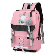 Women Backpack School Bag for Girls Teenage Large Pink Usb Back Pack Youth Cute Girl Music Printing Nylon College Bagpack Ribbon