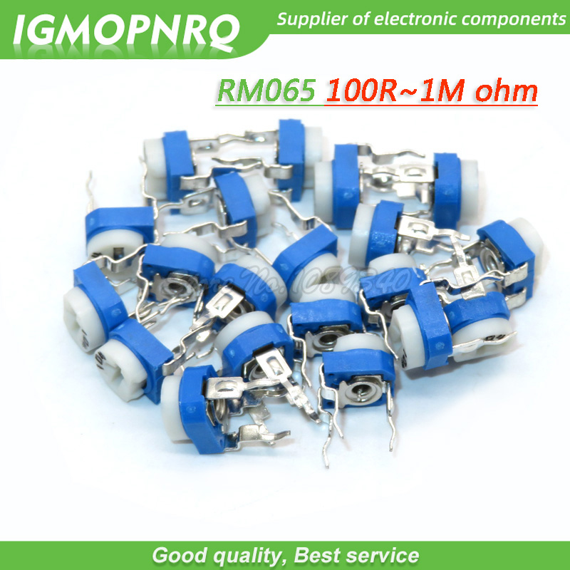 20PCS Trimmer <font><b>Potentiometer</b></font> RM065 RM-065 100 200 <font><b>500</b></font> 1K 2K 5K 20K 50K 100K 200K 500K 1M <font><b>ohm</b></font> DIP Variable adjustable Resistors image