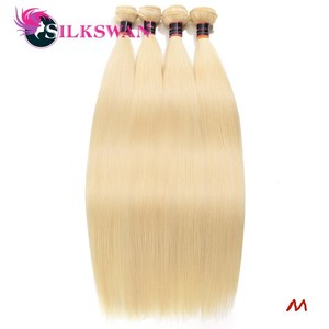 Silkswan Straight Human Hair Bundles 613 Honey Blonde Colord Hair 24 26 28 30 32Inch Hair Bundles Brazilian Remy Hair Extensions