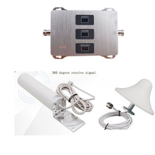 Amplificador de sinal celular do impulsionador gsm dcs wcdma do repetidor 900 1800 2100 do sinal da faixa móvel 2g 3g 4g tri com conjunto completo da antena