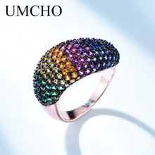 UMCHO Created Nano Colorful Gemstone Ring Solid 925 Sterling