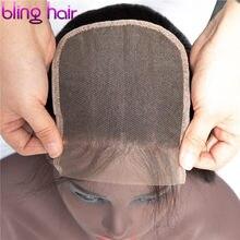 O fechamento reto peruano do cabelo humano do fechamento do laço 4*4 suíço de bling livra/meio/três parte com cabelo do bebê remy cor natural
