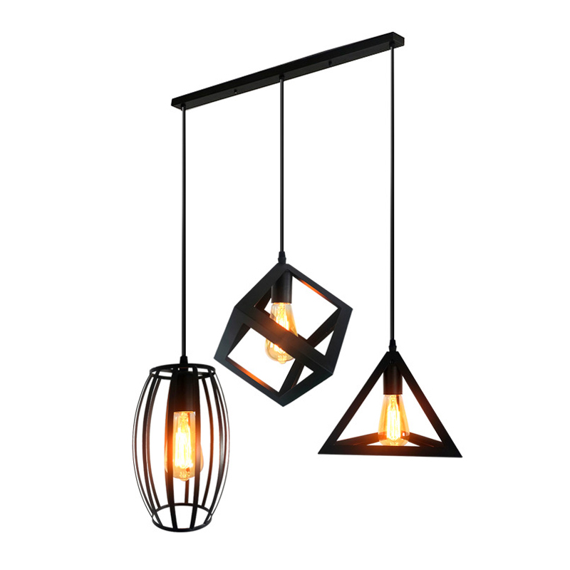 Creative Geometry Style Black Iron Pendant Lamp Vintage Industral Wind Cage E27 Pendant Light For Apartment Cafe Bar Home Decor|Pendant Lights| |  - title=