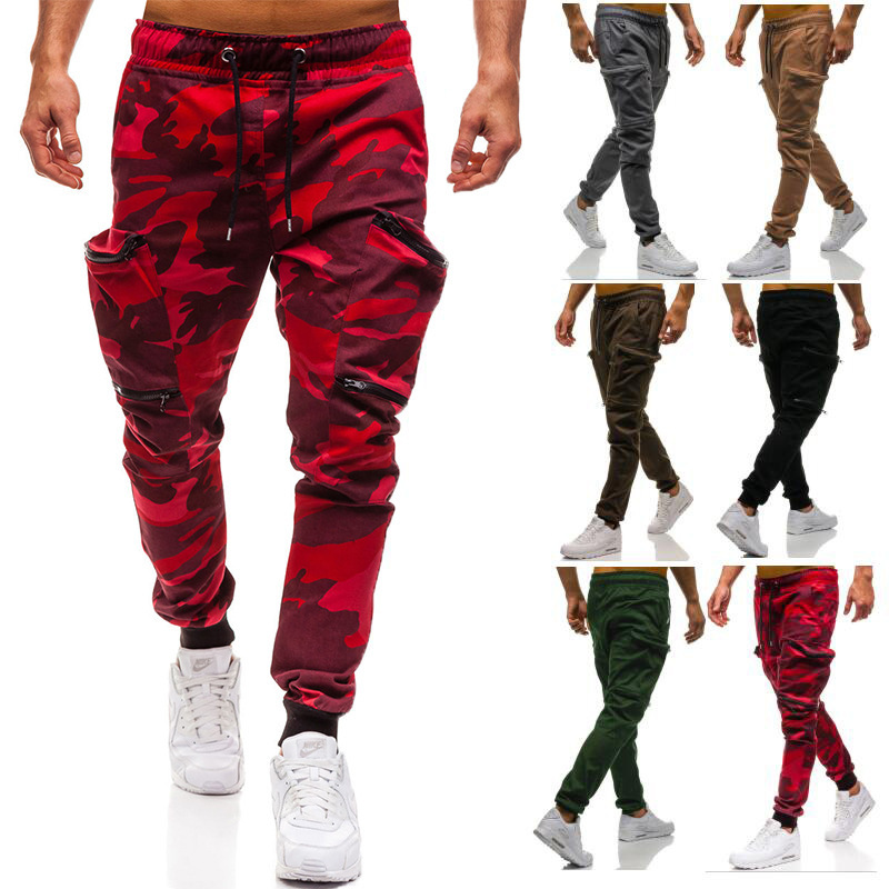 Large Cargo Prepared New Style Camouflage Multi-pockets Casual Pants Elastic Waistband Skinny Casual Pants 3405