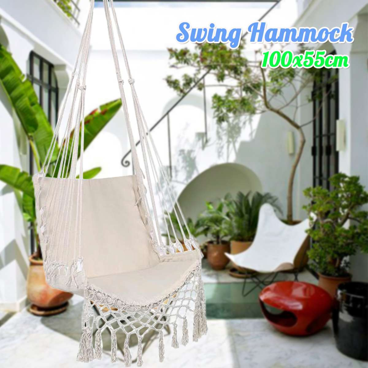 100x55cm Swing Hammock Outdoor Indoor Hanging Chair With Hammock Rope Garden Swing Chair For Children Adult Bedroom Furniture