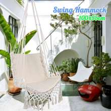 100x55cm Swing Hammock Outdoor Indoor Hanging Chair with Hammock Rope Garden Swing Chair for Childre
