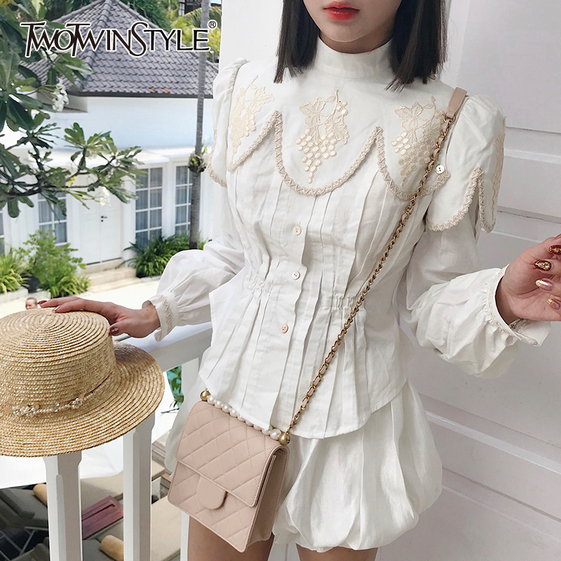 TWOTWINSTYLE Casual Embroidery Womens Shirts Stand Collar Lantern Long Sleeve Korean Female Shirt Blouse Autumn Fashion New 2020