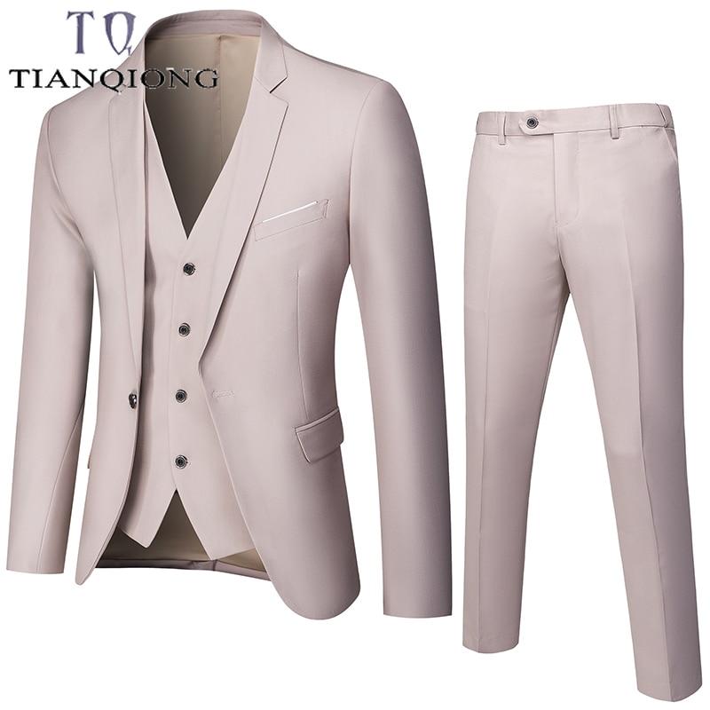 TIAN QIONG Men Suits 2020 Fahion Suits Men Wedding Suit 3 Pieces Suit (Jacket+Pants+Vest)  Mens Slim Fit Blazer Multi-color
