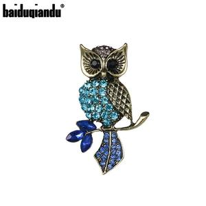 baiduqiandu Brand Antique Brass Color Metal Plated Rhinestones Owl Brooch for Women Dress Fashion Jewelry Accessories
