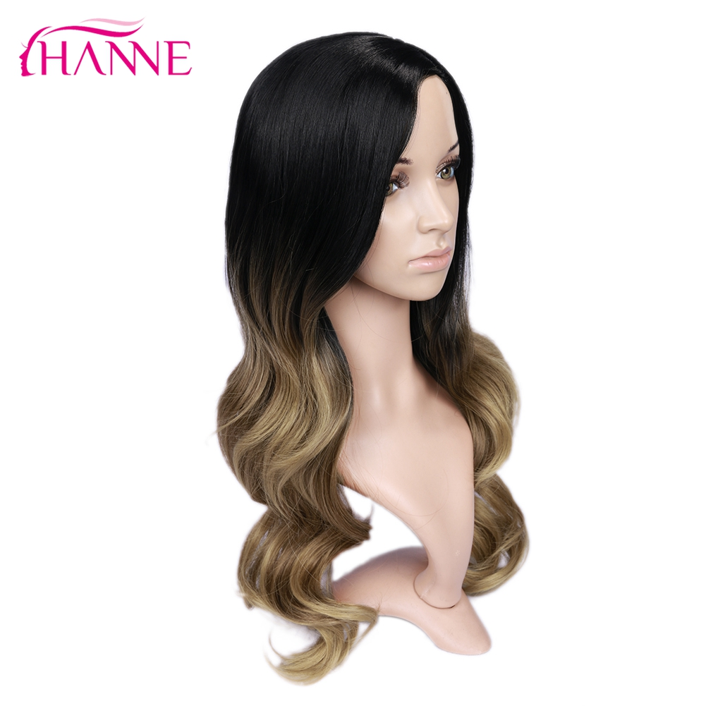 Hanne longo sintético ondulado perucas ombre marrom