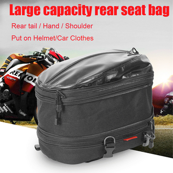 Motorcycle Rear Seat Bags Double Layer Heightening Helmet Clothes Bag Tail Bag Backpack Waterproof
