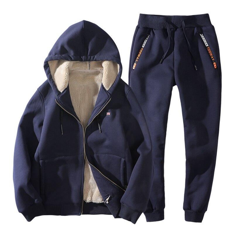Plus Size 6xl Men's Sportswear Winter Man Clothing Streetwear Tracksuit Men Two Piece Set Wool Liner Jogging Homme 15839