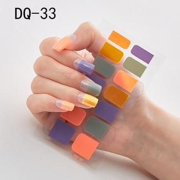 14pcs/sheet Glitter Gradient Color Nail Stickers Nail Wraps Full Cover Nail Polish Sticker DIY Self-Adhesive Nail Art Decoration 72
