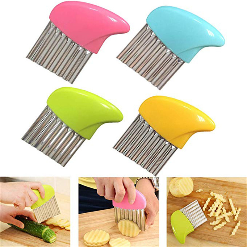 TTLIFE 4 Colors French Fries Cutter Stainless Steel Potato Chips Making Peeler Cut  Handle Vegetable Kitchen Knives Fruit Tool
