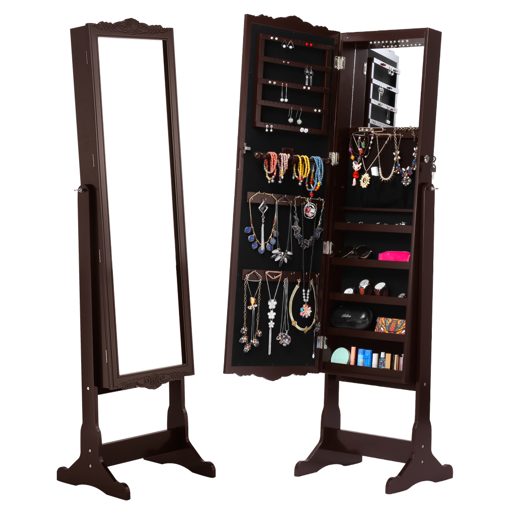 Langria Lockable Carved Jewelry Armoire Cabinet Full Length Mirror Led Lights 5 Shelves Additional Mirror Adjustable Organizer Aliexpress